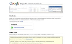 screenshot Google Blogger Web Comments for Firefox