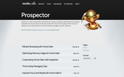 screenshot Mozilla Prospector