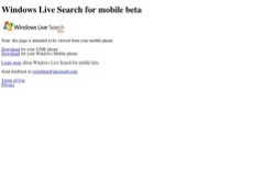 screenshot Windows Live Search for mobile