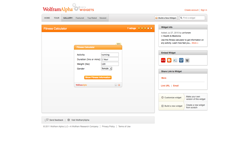 screenshot Wolfram|Alpha Fitness Calculator